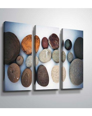 """Highland Dunes 'Abstract Beach Stones' Photographic Print Multi-Piece Image on Canvas BF187987 Size: 36"""" H x 54"""" W x 2"""" D Format: Wrapped Canvas"""