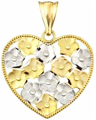 Handcrafted 10kt Gold Floral Heart Charm Pendant
