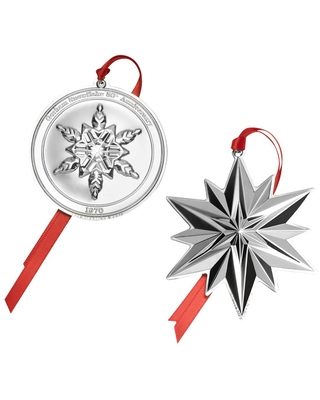 2019 Sterling Snowflake 50th Anniversary Ornament Set of 2