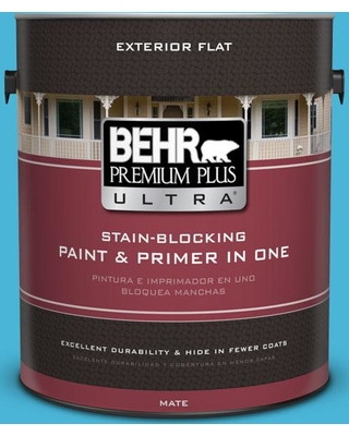 BEHR Premium Plus Ultra 1 gal. #P490-4 Aztec Sky Flat Exterior Paint and Primer in One