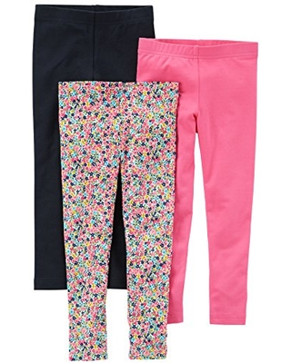 Carter's Baby Girls' 3-Pack Leggings, Black/Floral/Pink, 9 Months