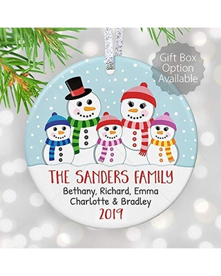 Find Savings On Personalized Family Of Five Christmas Ornament Snowman Family Sign Family Of 5 4 3 With Names Mom Dad Baby Shower 3 Flat Circle Ceramic Ornament Gold