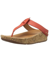 FitFlop Women's Ibiza Cork Leather Toe-Thong Sandals Flip Flop, Flame, 6 M US