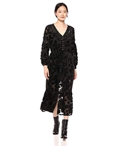 The Kooples Women's Women's V-Neck Maxi Dress in Burn-Out Sheer Velvet, Black, 1
