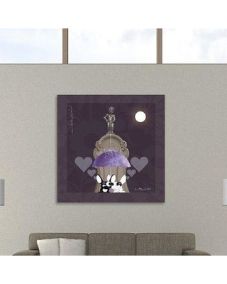 """Ebern Designs 'Lover by Lover Brussels by Night' Graphic Art Print on Wrapped Canvas BF150421 Size: 48"""" H x 48"""" W x 1.5"""" D"""