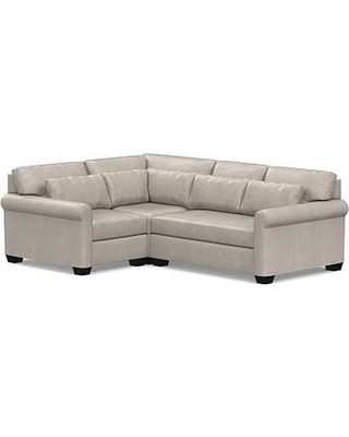 York Roll Arm Leather Deep Seat Right Arm 3-Piece Corner Sectional, Down Blend Wrapped Cushions, Statesville Pebble