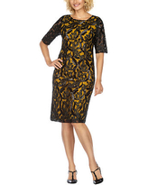 Giovanna Collection Short Sleeve Embellished Sheath Dress, 18 , Yellow
