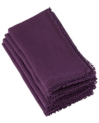"SARO LIFESTYLE Pomponin Collection Beautiful Linen Table Napkins With Pompom Design (Set of 4), 20"", Purple"