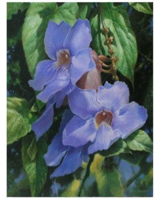 """World Menagerie 'Flowers Over Green Background' Acrylic Painting Print on Wrapped Canvas WRME2578 Size: 32"""" H x 24"""" W x 2"""" D"""