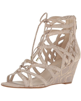 Kenneth Cole New York Women's Dylan Wedge Sandal, Natural, 9.5 M US