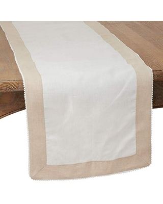 """SARO LIFESTYLE Ivory Two-Tone Table Runner with Knotted Border - 16""""x72"""" Oblong"""