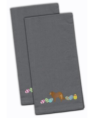 """Caucasian Shepherd Easter Embroidered Kitchen Tea Towel The Holiday Aisle® Color: Gray, Size: 28"""" H x 19"""" W x 0.1"""" D"""
