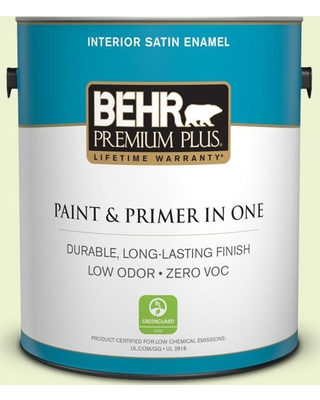 BEHR Premium Plus 1 gal. #420A-1 Green Shimmer Satin Enamel Low Odor Interior Paint and Primer in One
