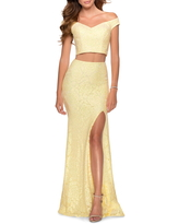 La Femme Two-Piece Sequin Lace Trumpet Gown, Size 4 in Pale Yellow at Nordstrom