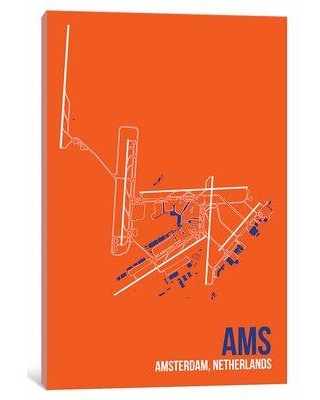 "East Urban Home Airport Diagram Series 'Amsterdam' Graphic Art Print on Canvas URBH7086 Size: 12"" H x 8"" W x 0.75"" D"