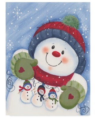 Trademark Fine Art 'Snowman With Decorations' Canvas Art by Beverly Johnston