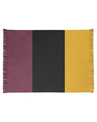 East Urban Home Striped 4.6' x 5.5' Wine/Black/Gold Area Rug FCOK9972