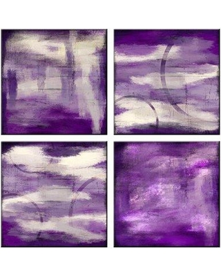 PTM Abstract Violet 4 Piece Framed Graphic Art Set 6-5697SET
