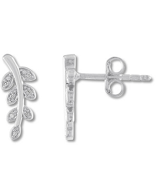 Leaf Earrings with Diamonds Sterling Silver