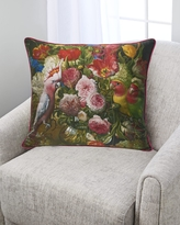Floral With Love Birds Silk Pillow