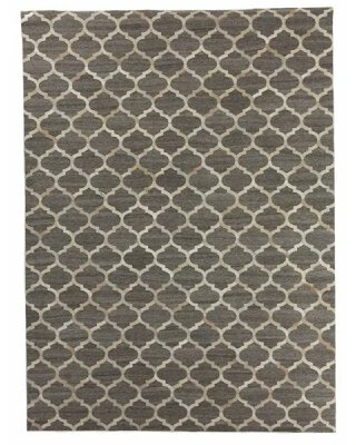 """Geometric Handmade Silk Beige/Silver Area Rug Exquisite Rugs Rug Size: Rectangle 11'6"""" x 14'6"""""""