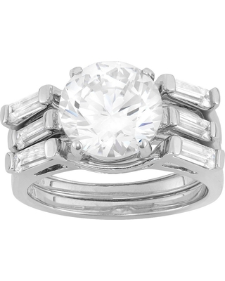 4.95 CT. T.W. 10mm Round-Cut Cubic Zirconia Designer 3-Piece Ring Set with Side Stones In Sterling Silver - (7)