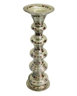 A&B Home Silver Pillar Candle Holder (19 inches)