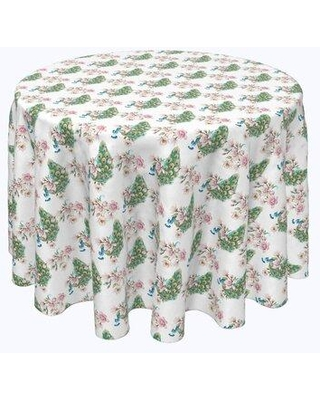 "Bloomsbury Market Vishwakarma Watercolor Peacocks and Flowers Tablecloth X113022560 Size: 108"" x 108"""
