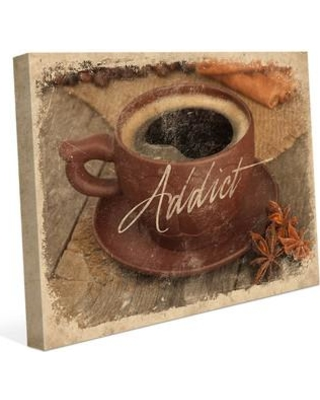 Amazing Deal On Click Wall Art Coffee Addict Paper Graphic Art On Wrapped Canvas Canvas Fabric In Brown Orange Size 8 H X 10 W X 0 75 D Wayfair