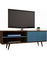 """Manhattan Comfort 201AMC93 - Liberty 62.99"" Mid Century - Modern TV Stand w/ 3 Shelves & 2 Doors in Rustic Brown & Aqua Blue w/ Solid Wood Legs"""