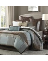 Madison Park Lincoln Square 8 Piece Comforter Set, Queen, Blue/Brown