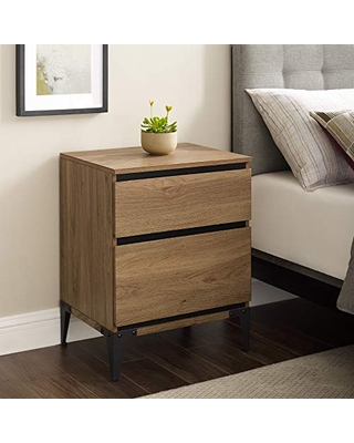 Walker Edison Elroy 2 Drawer Urban Nightstand, 2 Drawer, English Oak
