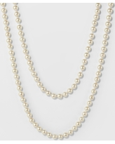 Long Faux Pearl Necklace - A New Day Silver/White