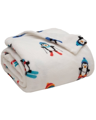 King Holiday Print Plush Bed Blanket Alpine Penguin - Elite Home Products