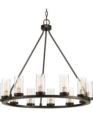 Progress Lighting Hartwell 26 63 In 12 Light Antique Bronze Chandelier With Clear Seeded Gl And Natural Br Accents From Home