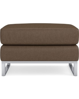 Paxton Ottoman, Italian Distressed Leather, Toffee, Polished Nickel