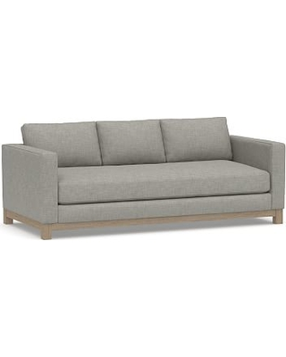 """Jake Upholstered Sofa 85"""" with Wood Legs, Polyester Wrapped Cushions, Premium Performance Basketweave Light Gray"""