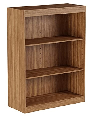 Lavish Home 3-Shelf Bookcase-Open Front Bookshelf with Adjustable Wall Anchors – Storage and Organizer Shelving Unit (Brown Woodgrain)
