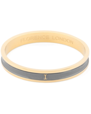 Florence London - Initial I Bangle 18Ct Gold Plated With Grey Enamel