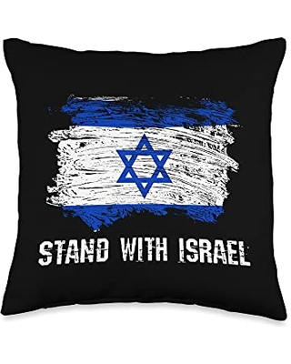 Stand With Israel Shirts & Pro-Israel Gifts Stand With Israel Distressed Grunge Israeli Flag Throw Pillow, 16x16, Multicolor