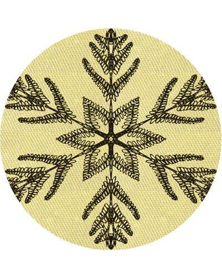 East Urban Home Patterned 38 Yellow Area Rug X113671400 Rug Size: Round 3'