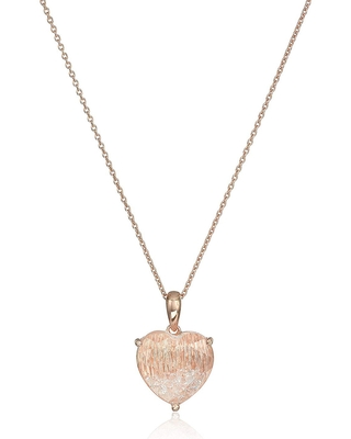 Created White Sapphire Heart & Crystal Shaker Pendant Necklace in 14K Rose Gold-Plated Sterling Silver