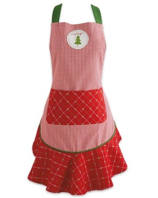 """26"""" x 28.5"""" Red and Green Merry Christmas Ruffle Apron"""