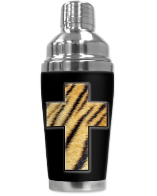 "Mugzie ""Tiger Cross"" Cocktail Shaker with Insulated Wetsuit Cover, 16 oz, Black"