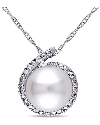 8-8.5mm White Round Cultured Freshwater Pearl and Diamond-Accent 10kt White Gold Fashion Pendant, 17
