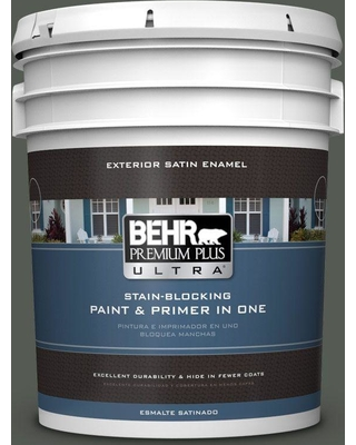 BEHR ULTRA 5 gal. #N410-7 North Woods Satin Enamel Exterior Paint and Primer in One