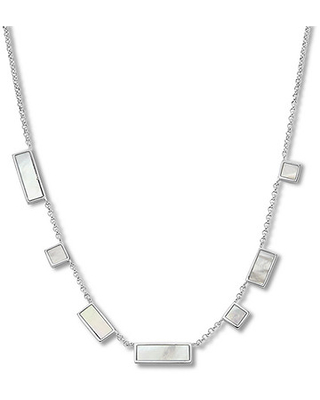 """Mother-of-Pearl Necklace Sterling Silver 17.75"""""""