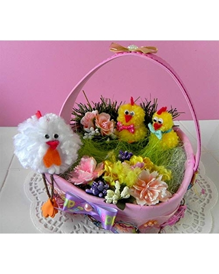 Easter decor, Easter Chickens Arrangement, Easter Basket, Floral Table Decoration, Bird Nest, Spring and Easter Feather Tree Ornament, Easter Gift