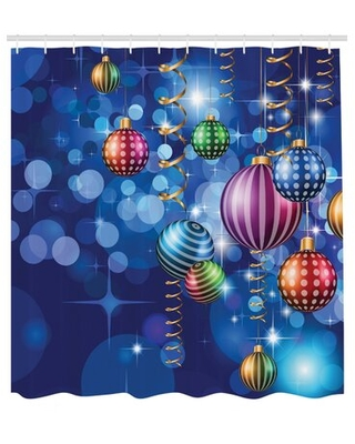 """Christmas Happy New Year Party Single Shower Curtain The Holiday Aisle® Size: 84"""" H x 69"""" W"""
