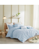 7pc Full/Queen Kay Cotton Jacquard Comforter Set Blue